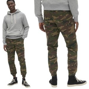 GAP Green Camo Slim Canvas Joggers with Gapflex